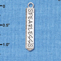 C6127+ tlf - Fearless Bar - Silver Plated Charm (2 per package)