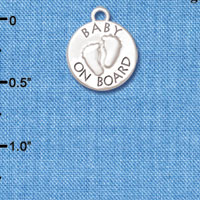 C6148+ tlf - Baby on Board with Feet - Silver Plated Charm (6 per package)