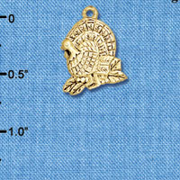 C6178+ tlf - Medium Antiqued Turkey - Goldtone Plated Charm (6 per package)