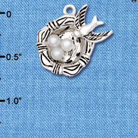 C6201+ tlf - Birds Nest with Eggs - Silver Plated Charm (6 per package)