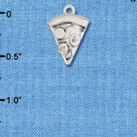 C6207+ tlf - Pizza Slice - Silver Plated Charm (6 per package)