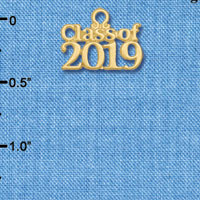 C6261 tlf - Class of 2019 - Goldtone Plated Charm (6 per package)