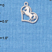 C6272+ tlf - Stallion Silhouette Heart - Silver Plated Charm (6 per package)