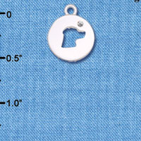 C6307 tlf - Dog Head Silhouette - Silver Plated Charm (6 per package)