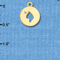 C6317 tlf - Cat Head Silhouette - Goldtone Plated Charm (6 per package)