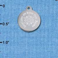 C6504-D tlf - Engraved Snowflakes are kisses from Heaven - Stainless Steel Charm (2 per package)