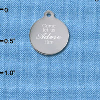 C6504-I tlf - Engraved Come Let Us Adore Him - Stainless Steel Charm (2 per package)