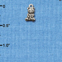 C6511+ tlf - Baby Panda Bear Sitting - Silver Plated Charm (2 per package)