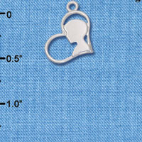 C6555+ tlf - Boy Silhouette in Heart - Silver Plated Charm (6 per package)