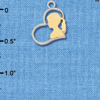 C6556+ tlf - Girl Silhouette in Heart - Im. Rhodium & Goldtone Plated Charm (2 per package)