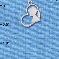 C6557+ tlf - Girl Silhouette in Heart - Silver Plated Charm (6 per package)