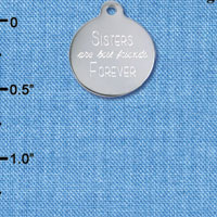 C6584 tlf - Engraved Sisters are Best Friends - Stainless Steel Charm (2 per package)