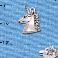 C6598+ tlf - 3-D Unicorn Head - Silver Plated Charm (2 per package)