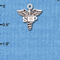 Wholesale C6602 tlf - SLP Caduceus - Silver Plated Charm (6 per package)
