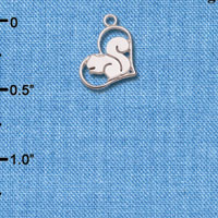 Wholesale C6604+ tlf - Squirrel in Heart - Silver Plated Charm (6 per package)