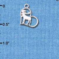 Wholesale C6605+ tlf - Moose in Heart - Silver Plated Charm (6 per package)