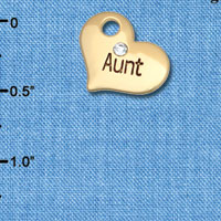 C6618 tlf - Large Aunt Heart with Crystal - Gold-tone Plated Charm