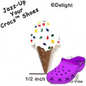 CROC-3440 - Ice Cream Cone White Sprinkles - Crocs<SMALL><SUP>TM</SUP></SMALL> Decoration Charm (12 per package)
