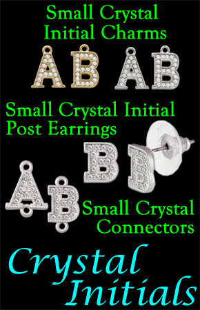 Small Crystal Initial Earrings & Charms
