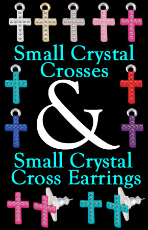 Crystal Cross Charms & Crystal Cross Post Earrings