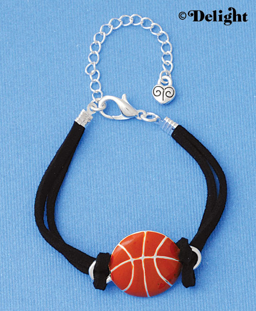 BR-F1499-F1525 tlf - Large Enamel Basketball - Silver Plated Black Suede Bracelet (2 per package)