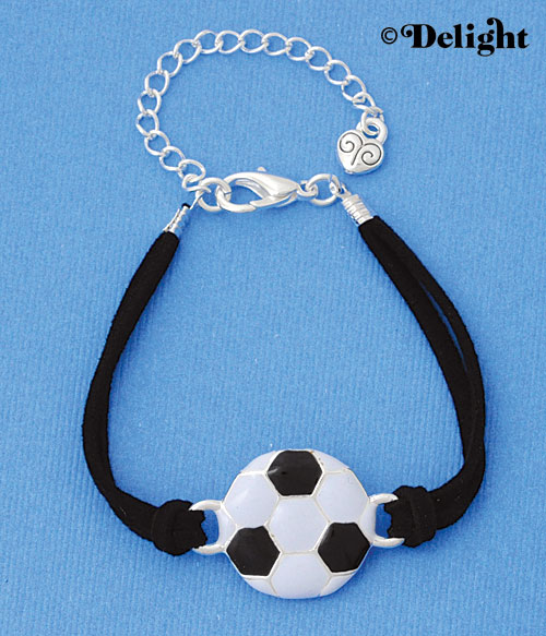 BR-F1502-F1525 tlf - Large Enamel Soccerball - Silver Plated Black Suede Bracelet (2 per package)