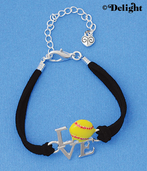 "BR-F1503-F1525 tlf - Large Enamel Silver ""Love"" with Enamel Softball - Silver Plated Black Suede Bracelet (2 per package)"