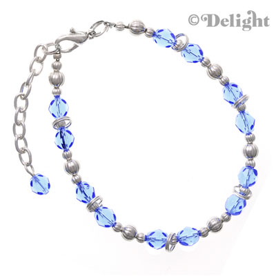 "BC4853 tlf - Light Sapphire - Fire Polished Czech Glass Beaded Charm Bracelet (8.5"") (3 per package)"