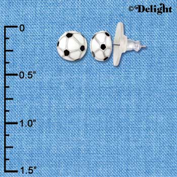 F1192 tlf - Mini Enamel Soccerball - Im. Rhodium Plated Post Earrings (3 Pair per package)