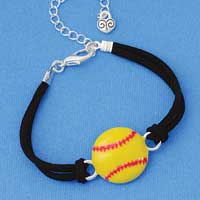 BR-F1498-F1525 tlf - Large Enamel Softball - Silver Plated Black Suede Bracelet (2 per package)