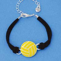 BR-F1501-F1525 tlf - Large Enamel Water Polo Ball - Silver Plated Black Suede Bracelet (2 per package)