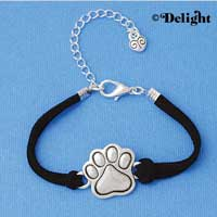 BR-F1504-F1525 tlf - Large Enamel Silver Paw - Silver Plated Black Suede Bracelet (2 per package)