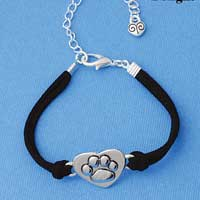 BR-F1505-F1525 tlf - Large Enamel Paw in Heart - Silver Plated Black Suede Bracelet (2 per package)
