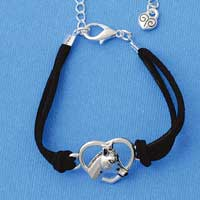BR-F1506-F1525 tlf - Large Enamel Horse Head in Heart - Silver Plated Black Suede Bracelet (2 per package)