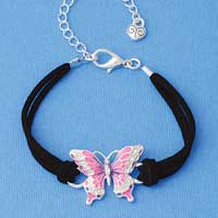 BR-F1507-F1525 tlf - Large Enamel Hot Pink and Purple Butterfly with Swarovski Crystals - Silver Plated Black Suede Bracelet (2 per package)