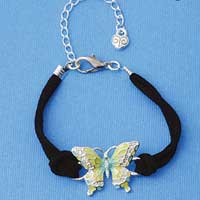 BR-F1508-F1525 tlf - Large Enamel Lime Green and Blue Butterfly with Swarovski Crystals - Silver Plated Black Suede Bracelet (2 per package)