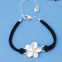 BR-F1509-F1525 tlf - Large Enamel Pearl White Plumeria Flower - Silver Plated Black Suede Bracelet (2 per package)