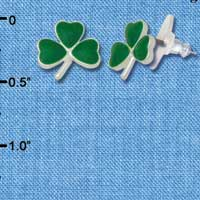 F1066 - Mini Green Shamrock - Silver Plated Post Earrings (3 pair per package)