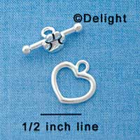 F1089 ctlf - Heart and Paw - Silver Plated Bar and Toggle Clasp (6 sets per package)