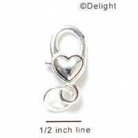 F1109 tlf - Silver Heart Lever Key Fob Clasp (6 per package)