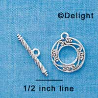 F1291 tlf - Silver Plated Fancy Filigree Toggle Clasp (2 pair per package)