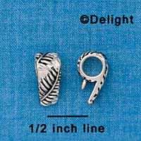 F1336 tlf - Antiqued Leaf Pattern - Silver Plated Bail with Loop (6 per package)