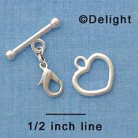 F1450 ctlf - Heart and Bar Toggle Clasp with Lobster Claw - Bracelet Converter  (6 sets per package)