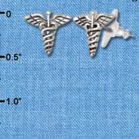 F1532 tlf - Caduceus - Silver Plated Post Earrings (3 Pair per package)