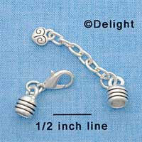 F1611 tlf - End Caps plus Clasp & Chain for Rubber Bracelet - Im. Rhodium Plated Finding Set (2 Sets per package)