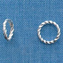 G1026 tlf - 8mm Fancy Jump Ring - 18 Gauge (1mm) - Silver Plated (100 per package)
