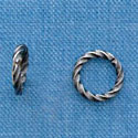 G1028 tlf - 8mm Fancy Jump Ring - 18 Gauge (1mm) - Antiqued Silver Plated (100 per package)