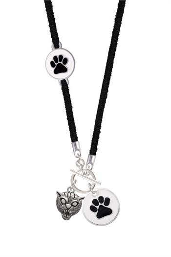 Black and White Paw Suede Toggle Necklace Jewelry Idea