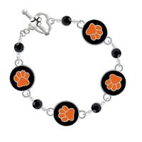 Black and Orange Paw Toggle Bracelet