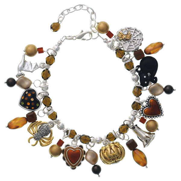 Golden Brown Halloween Beaded Charm Bracelet
